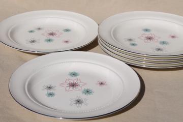 mid-century modern vintage Eastern china salad plates, atomic mod pink & aqua flowers