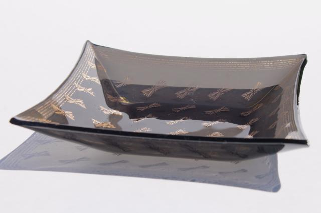 mid-century modern vintage European art glass, mod gold patterned formed glass trays