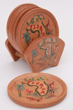 mid-century modern vintage Florida tourist souvenir map print drinks coasters set