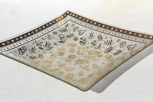 mid-century modern vintage Georges Briard Persian Garden gold decorated square glass tray