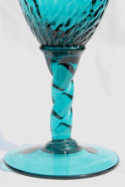 Mid Century Modern Vintage Italian Art Glass Vases In Aqua Marine Teal Ocean Blues
