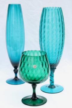 mid-century modern vintage Italian art glass vases in aqua marine, teal, ocean blues