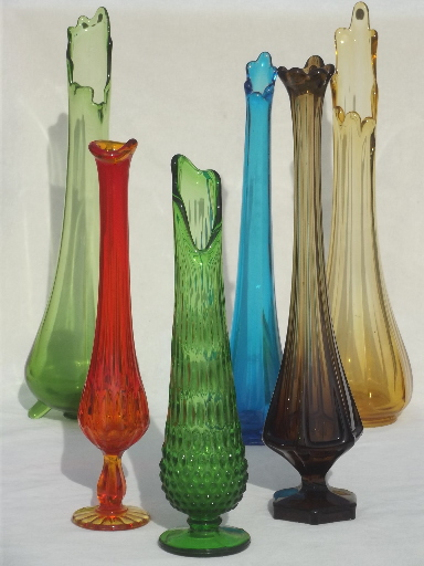 Mid Century Modern Vintage Art Glass Vase Lot Tall Vases In Retro
