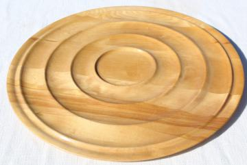 mid-century modern vintage blond wood serving tray, huge round mod bullseye shape