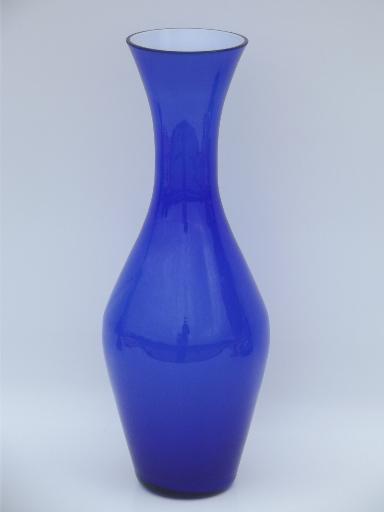 Mid Century Modern Vintage Cased Glass Vase Swedish Blue White