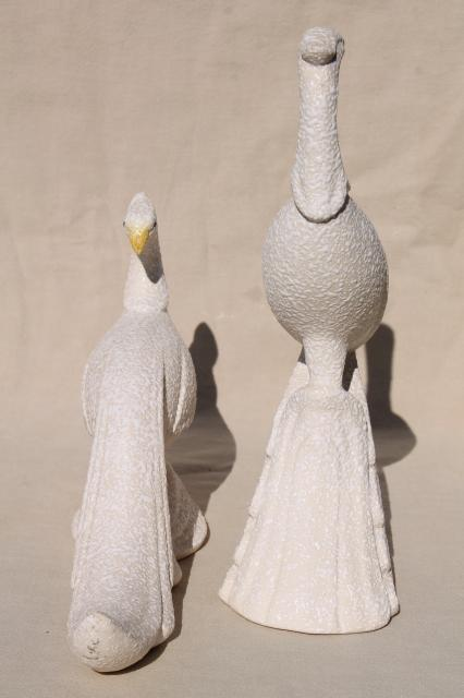 mid-century modern vintage ceramic birds, art pottery white peacocks w/ textured glaze