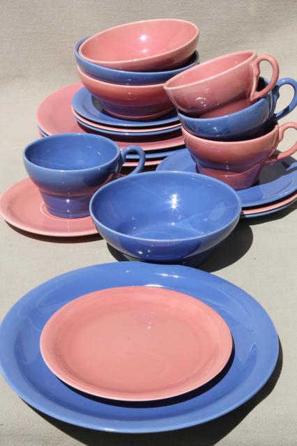 mid-century modern vintage ceramic dinnerware in pink u0026 blue Ernest Sohn Red Wing & vintage china dishes and dinnerware