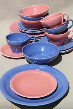 mid-century modern vintage ceramic dinnerware in pink & blue, Ernest Sohn Red Wing