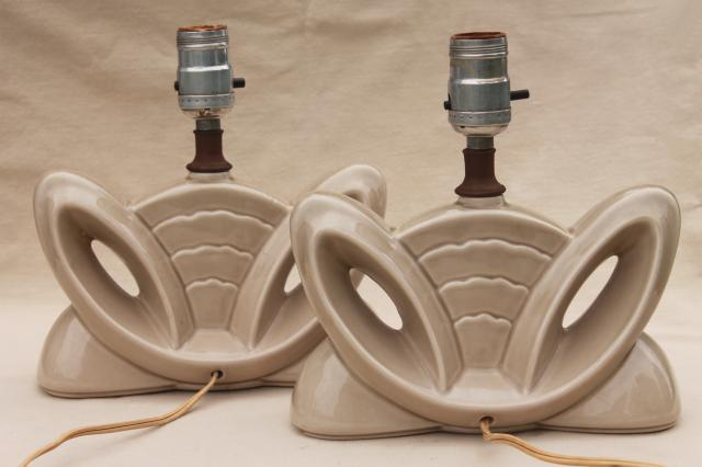 mid-century modern vintage ceramic lamps, winged streamlined shapes art pottery