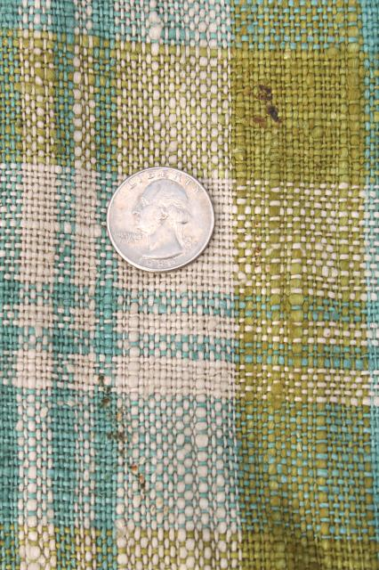 mid-century modern vintage curtains, 60s aqua blue / lime green plaid linen curtain panels