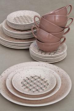 Mid-century modern vintage dinnerware set, 50s Vernonware Heyday California pottery dishes