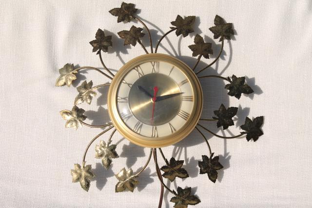 mid-century modern vintage electric wall clock, United kitchen clock w/ tole metal ivy