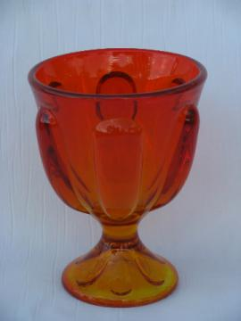 Mid-century modern vintage flame orange art glass bowl, candy dish or vase