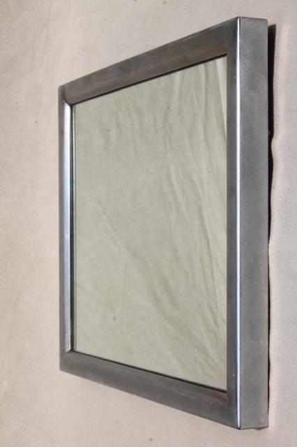 Mid Century Modern Vintage Washroom Mirror W Stainless Steel Frame