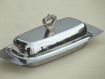 Mid-century modern vintage Kromex chrome plated butter dish