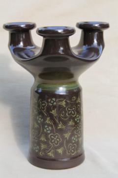 mid-century modern vintage pottery candelabra, Franciscan Madeira candle holder