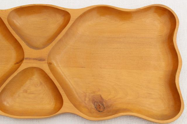 mid-century modern vintage sectional serving tray, mod blond wood table or desk tray