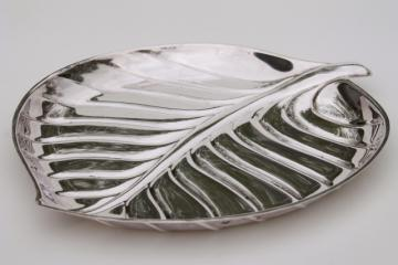 mid-century modern vintage silver tray, large silver leaf platter or serving dish