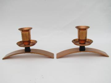 Mid-century modern vintage solid copper candlesticks, retro mod candle holders
