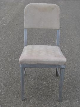 Mid-century modern vintage steel office desk chair, original salvage