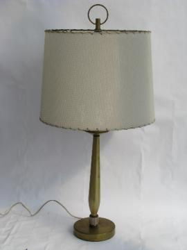 Mid-century modern vintage streamlined brass table lamp, mod switch
