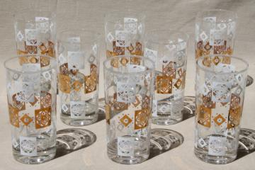 mid-century modern vintage tumblers set, white & gold print glass drinking glasses