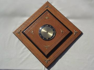 Mid-century modern vintage wall clock, Empire Art diamond wood frame