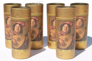 mid-century retro metallic gold bar glasses, Frans Hals the Jester art print
