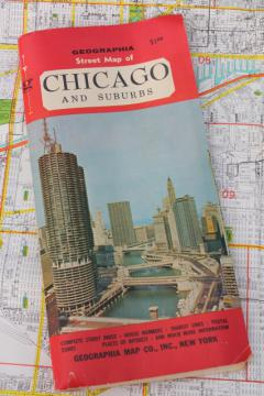 mid-century vintage Chicago city street map large Geographia map dated 1966