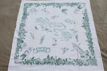 mid-century vintage Hawaii souvenir map print cotton tablecloth w/ hula girls & surfers