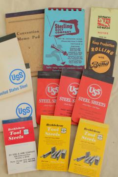 mid-century vintage advertising, lot collectible paper booklets industrial steel