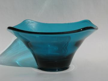 Mid-century vintage aqua blue art glass bowl, Blenko or Viking?