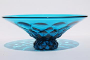 Mid-century vintage aqua blue glass bowl, bluenique color Viking art glass
