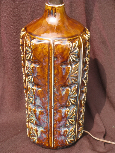 Mid Century Vintage Brown Drip Glaze Ceramic Lamp Retro