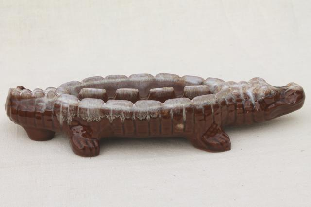 Mid Century Vintage Ceramic Ashtray Brown Drip Glaze
