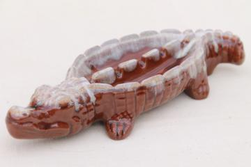 mid-century vintage ceramic ashtray, brown drip glaze pottery alligator