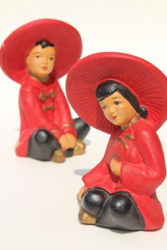 mid-century vintage chalkware figures, Chinese children figurines, very retro!