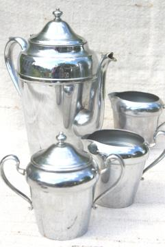 mid-century vintage chrome coffee set, Crown silver chromium plate coffeepot