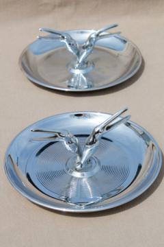 Mid-century vintage chrome plated ashtrays, smoking birds to hold cigarettes