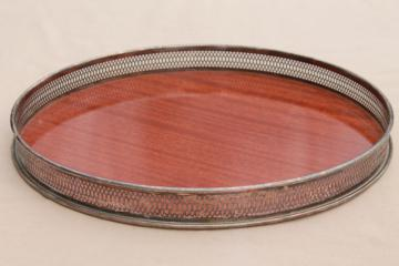 mid-century vintage cocktails / serving tray, rosewood formica w/ silver plate gallery rail