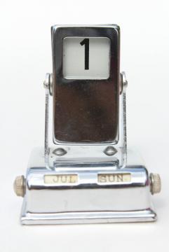 mid-century vintage flip digit perpetual calendar, art deco chrome desk calendar