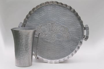 mid-century vintage hammered aluminum serving tray & cocktail pitcher, retro 1950s serveware
