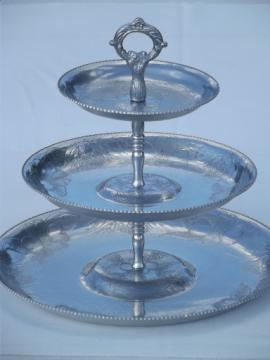 Mid-century vintage  hammered aluminum tiered tray for serving cupcakes etc.