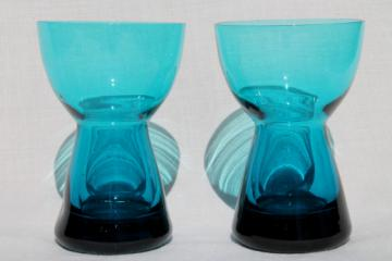 Mid-century vintage Morgantown Barton glass candlesticks set in peacock blue