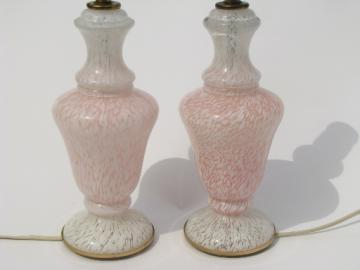 Mid-century vintage pink and white Italian art glass boudoir lamps pair