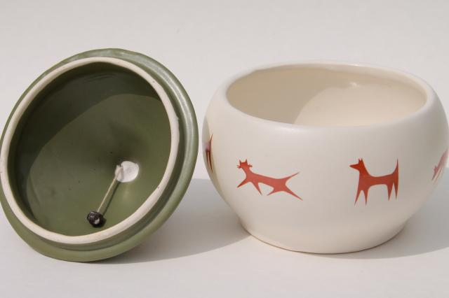 mid-century vintage pottery cookie jar for cats & dogs, mod design Upjohn Unipet premium