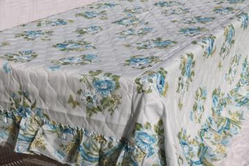 mid-century vintage quilted nylon bedspread w/ girly ruffles & pretty blue roses floral
