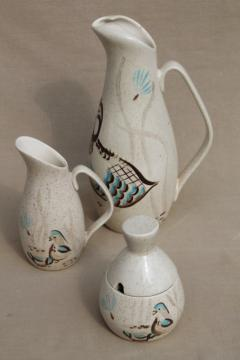 Mid-century vintage Red Wing Bob White bird pottery pitcher, cream & sugar set