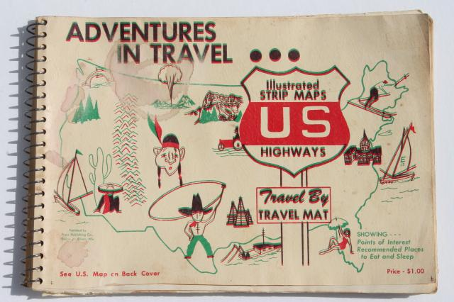 mid century vintage road trip travel maps roadside attractions food lodgings