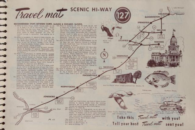 mid-century vintage road trip travel maps, roadside attractions, food, lodgings